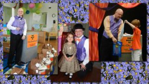 a kids party magician in Dallas collage