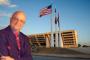 Magician MrGoodfriend in front of Dallas city hall.