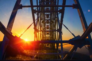 State Fair Ferris wheel at sunset